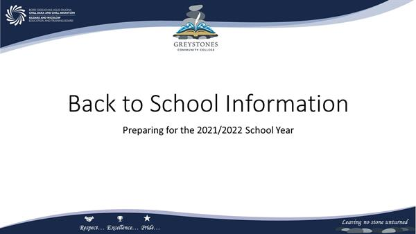 Back to School Information 2021