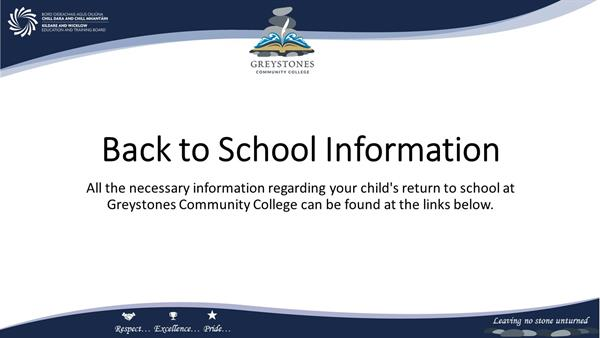 Back to School Information - 2nd Year 2021